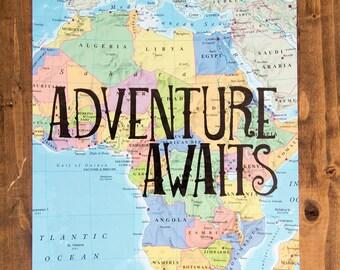 "Africa Map Print, Adventure Awaits, Great Travel Gift, 8"" x 10"" Letterpress Print"