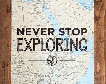 "Africa Map Print, Never Stop Exploring, Great Travel Gift, 8"" x 10"" Letterpress Print"