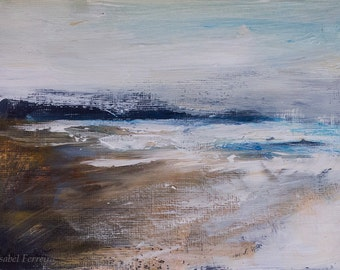 Original abstract landscape painting, acrylic, sea, beach, wall art, Study for a seascape, 5x7,