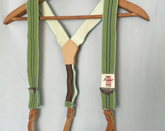 Green Suspenders Vintage Elastic Stretch Striped Tan Leather