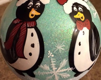 Hand Painted Penguin ornament
