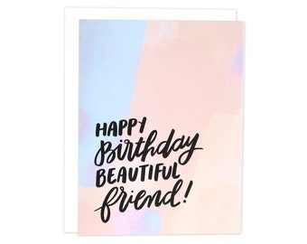 Beautiful Friend Bday Card, Birthday Card, Happy Birthday Bestie, Best Friend Birthday, Watercolor Card, Bday Friend Card, BFF Bday Card