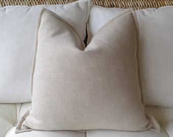 Tan Herringbone Pillow Cover, 18 x 18 inch, 20 x 20 inch, Beige Pillow Cover, Tan Pillow Cover, Ivory Pillow, Designer Pillow