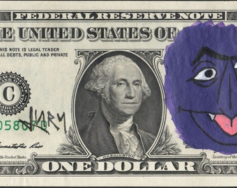 Original Hand painted Jury The Clown Dollar art Count Von Count Sesame Street 2*