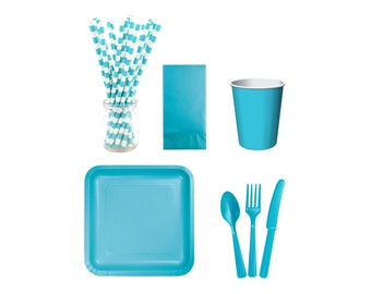 TURQUOISE SERVING KIT Turquoise Dig-In-Don't-Wait-Kit 'Get-Kit-Done' Instant Party Serving Kit Plates Cups Cutlery Straws Napkins