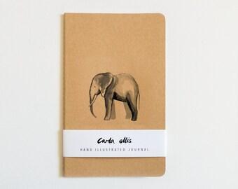 Moleskine Journal: Elephant, Hand Illustrated - Blank or Lined