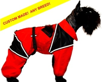 ANY BREED! Custom Dog Raincoat. Full Body Dog Overall. Dog Rain Jacket. Free Shipping!