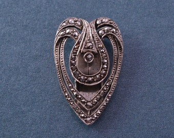 Silver Art Deco 1920's Dress Clip With Marcasite