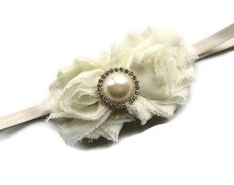Ivory Pearl Headband for Infant - Newborn Headband Photo Prop - Ivory Skinny Elastic Headband for Newborn - Baptism Headband - Baby Gift