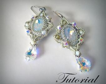 Beading tutorial earrings Bella Crystal earrings pattern earrings  Jewelry pattern beading tutorial earrings instruction l earrings tutorial