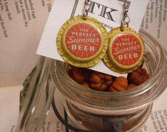 Shiner Summer Beer Cap Earrings + Christmas Gift + Ladies + Folk + Punk + Wedding + Prom + Funny Gift + Birthday + Southern