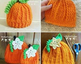 Pumpkin hat- sizes premie-24months