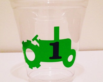 12 Tractor Party Cups, Farm Birthday, Tractor Birthday Cups, Barnyard Birthday, Tractor Birthday Party, Old MacDonald Birthday Party Decor