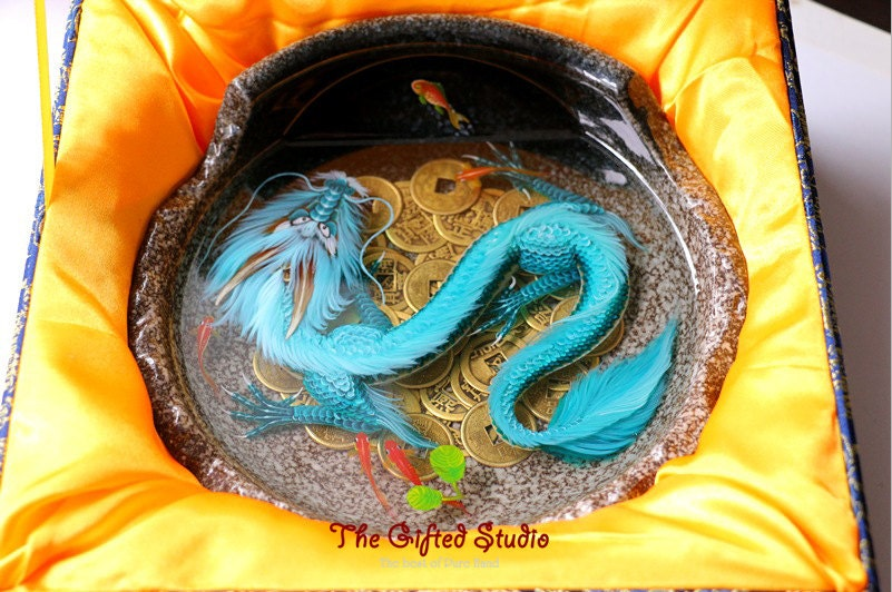 Amazing resin artworknew3d blue dragon lying on ancient for Dragon koi for sale