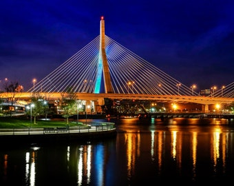 Zakim Bridge, Boston Photography, Boston Print, Boston Art, Wall Decor, Boston Skyline, Night Photography