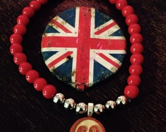 Glass Red Beaded Bracelet with Vintage Wooden Bingo 69