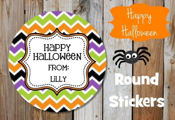 Halloween Stickers - Funky Chevron - Set of 12 Round Labels - Personalized Labels - Orange, Purple, Green, Black, Tags, Stickers