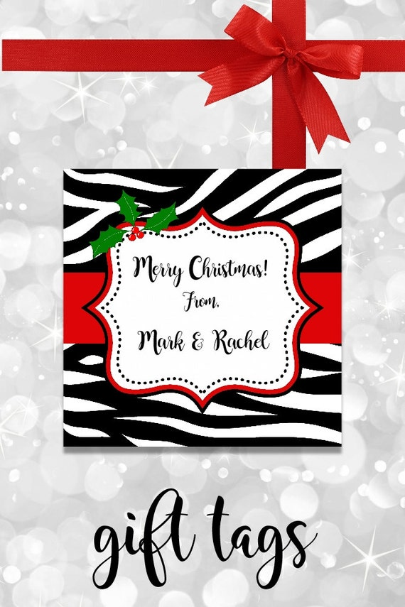 Zebra Christmas Gift Tags - Printable - Personalized Christmas Tags - Zebra Tags - Christmas Tags