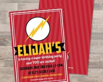 Superhero The Flash Birthday Party Invitation | Customizable | DIGITAL FILE