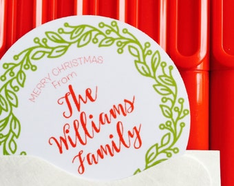 Christmas Gift Sticker | Personalized Christmas Labels | Green Wreath Holiday Gift Tags, Holiday Labels | Custom Christmas Stickers