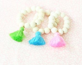 Girls Tassel Bracelet, Girls Beaded Tassel Bracelet, White Bead Bracelet, Tassel Bracelet, Wood Bead Bracelet
