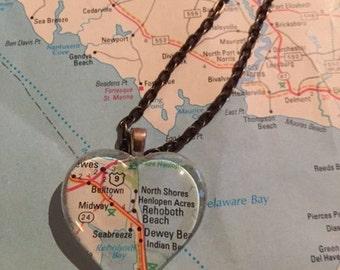 Rehoboth, DE Vintage Map Pendant Necklace