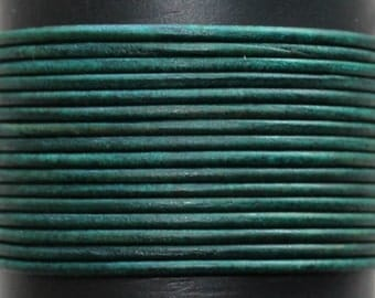 Natural Green / 2mm Leather Cord / leather by the yard / round leather cord / genuine leather / necklace cord / bracelet cord