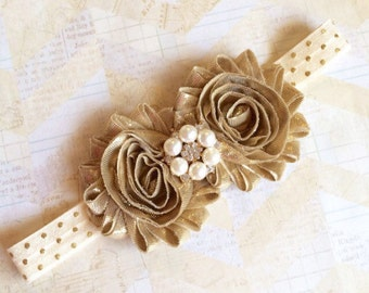 Gold headband,metallic gold headband,baby headband,girls headband,polka dot headband,cream headband,ivory headband,newborn headband