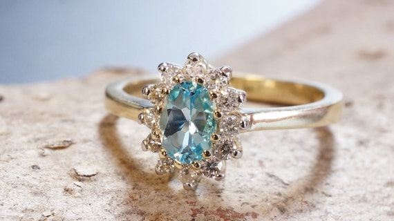 Blue Topaz Diamond Engagement Ring