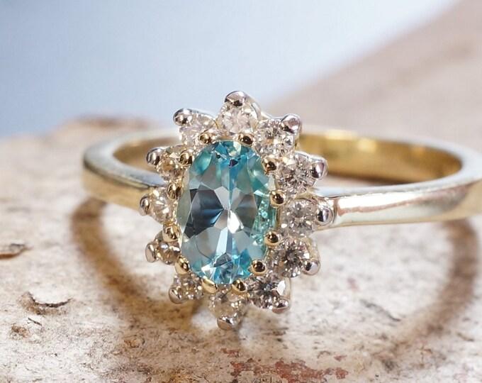 Blue Topaz Diamond Engagement Ring-Yellow Gold Ring-Diana Ring-Blue Topaz  ring-promise ring-multistone ring-anniversary gifts-wedding ring