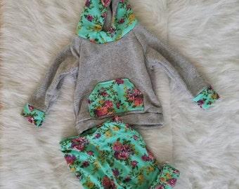 SALE! Mint floral baby hoodie, coming home outfit, baby hoodie set, baby hospital outfit, floral baby hoodie, newborn baby hoodie
