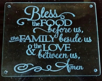Bless Food Family Love Laser Engraved Tempered Glass Cutting Board