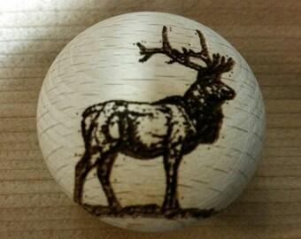 Rustic Decor Laser Engraved Elk Wooden Knob