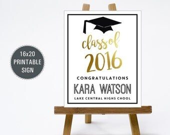 16x20 Graduation Party Sign - Personalized Grad Party Welcome Sign - Class of 2016