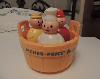 Vintage FISHER PRICE  3 Men in a Tub Toy Bath Nice Condition 1970's