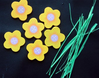 6 Yellow Wood Floral Flower  Embellishments with Green Paper Stems