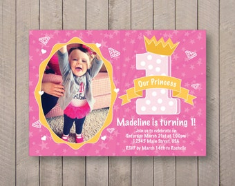 1st Birthday Princess Invite - 7x5