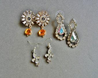Vintage rhinestone earring lot, rhinestone earrings, aurora borealis earrings, rhinestone baguette earrings, rhinestone lot, earring lot