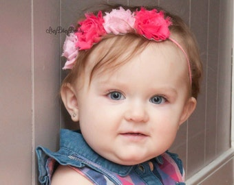 Pink chiffon flower headband baby girls first valentines day hair accessory