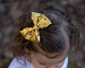 Girls sequin gold headband hair clip accessory bow