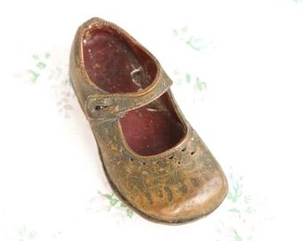 Little Girls Bronzed Shoe - Antique Baby Shoe - Vintage Home Decor