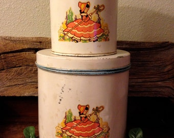 Little Bo Peep Has Lost Her Sheep (and Doesn't Know Where to Find Them!) – Shabby 2-Piece Vintage 1940s/1950s Nesting Canister Set - Decals