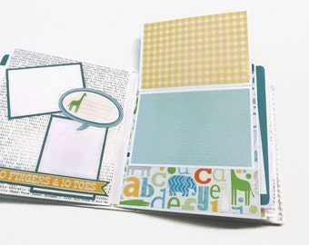 Baby boy album,  premade scrapbook, photo ready mini album, baby boy brag book