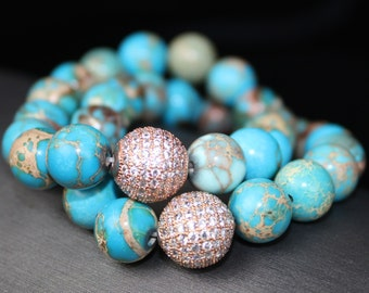 Magnestite 10 mm turquoise colored with rose gold pave accent bead