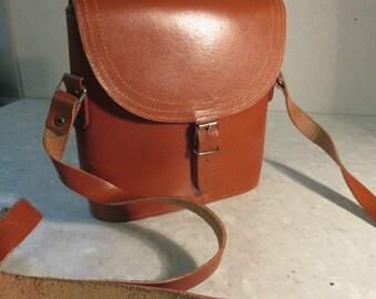Vintage 1960's Mini Tan Leather Satchel - Very Cute!!