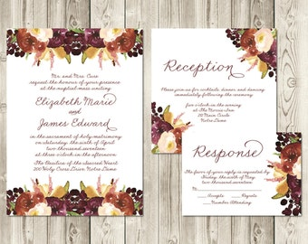 Autumn Berry Wedding Invitation Set