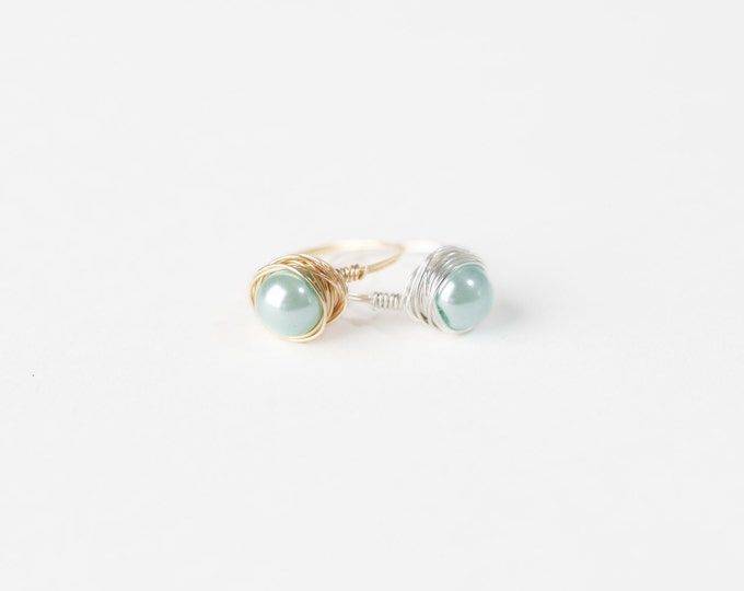 Sea Foam Pearl Ring - Green Pearl Wire Ring - Green Pearl Silver Wire Ring - Green Pearl Gold Wire Ring - Silver Wire Ring - Gold Wire Ring
