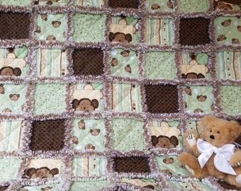 NOW ON SALE!!!!  Green, brown and tan monkey themed rag quilt for baby boy
