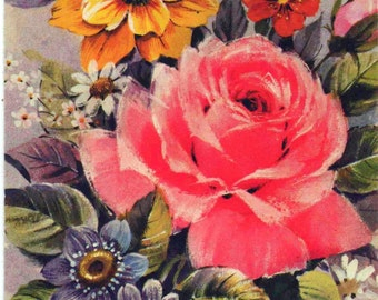 Front panel of birthday card, Roses and bouquet, good shape