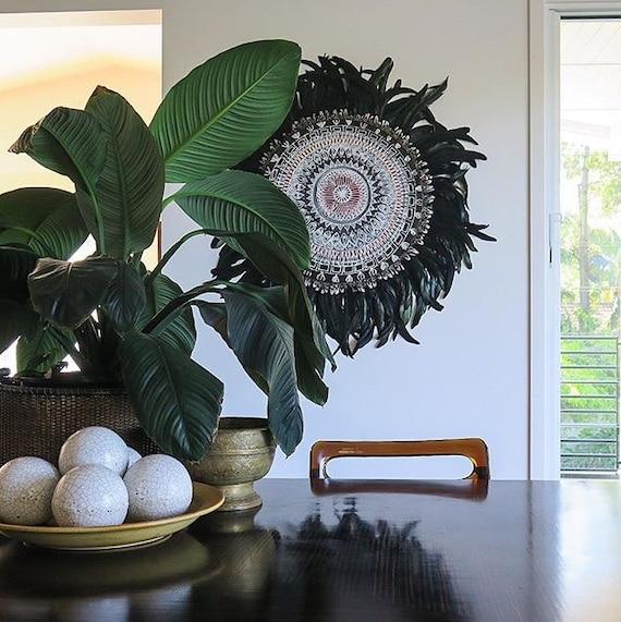 Tribal Retro Mandala Black White Feathers Round Wall Art, White black Boho Design,  Timber Porthole